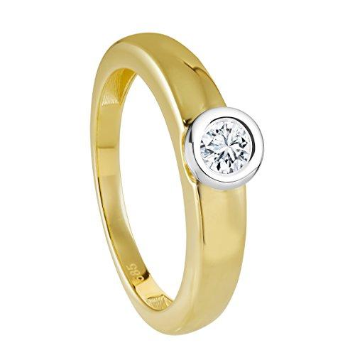 Diamond Line Femme 14carats (585/1000) Or bicolore Balle Diamant Anneau