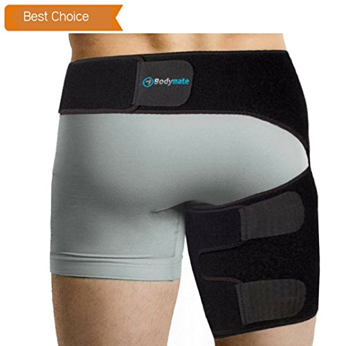 Hips Thighs - Bodymate Compression Wrap for Groin Hip Thigh Quad Hamstring Joints Sciatica Nerve Pain Relief Strap (Small, Black)