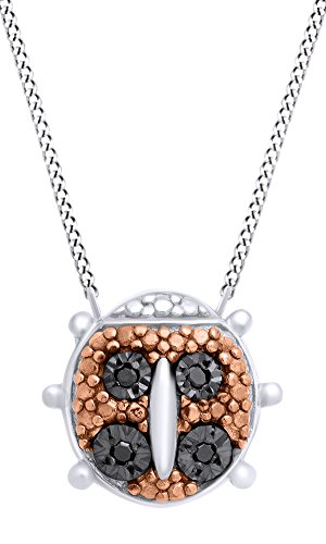 Diamond Ladybug Pendant (Round Shape Black Natural Diamond Tiny Ladybug Pendant Necklace Christmas Gift In 14K White Gold Over Sterling Silver)