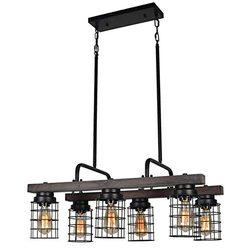 Beuhouz Farmhouse Dining Room Chandelier Light, Metal and Wood Kitchen Island Light Fixture Linear Cage Chandelier 6 Lights Edison E26 -