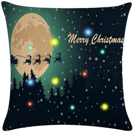 Image ofcaogsh Funda de Almohada de Lino, diseño de Papá Noel y Copos de Nieve, extraíble y Lavable, 45,7 x 45,7 cm, Christmas01#, 4covers+4cores