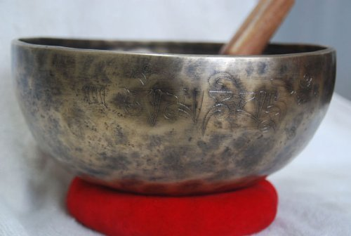 10 Inches Rare Autique Tibetan Singing Bowl, Beaten Hammered Meditation Singing Bowls, Hand Carving with Cushion & Striker