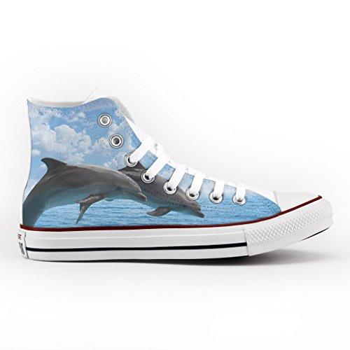 Converse All Star Personnalisé et Imprimés - chaussures à la main - produit Italien - Dolphins