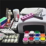 Full Acrylic Nail Kit With 36W White Cure Lamp Dryer & 12 Colors UV Gel Nail Art Tools Sets