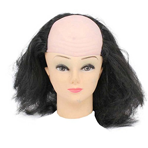 Bald Head Cap With Wig For Halloween Costume White (bald Head Color May Vary)