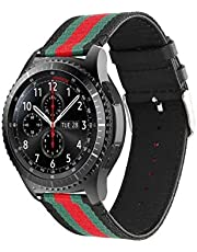 LNKOO Sport Band for Gear S3 Frontier Classic Smart Watch, 22mm Nylon Style Leather Sports Replacement Strap for Samsung Gear S3 Frontier Classic,2724636582140