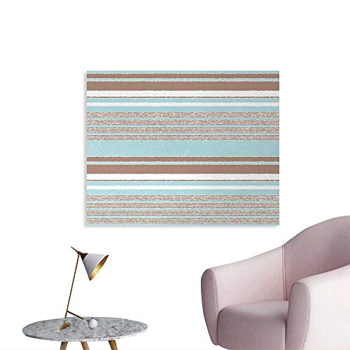 (Tudouhoho Aqua Cool Poster Horizontal Stripes Lines Vintage Grunge Style Ocean Seem Layers Image Photo Wall Paper Seafoam Umber and White W36 xL24)