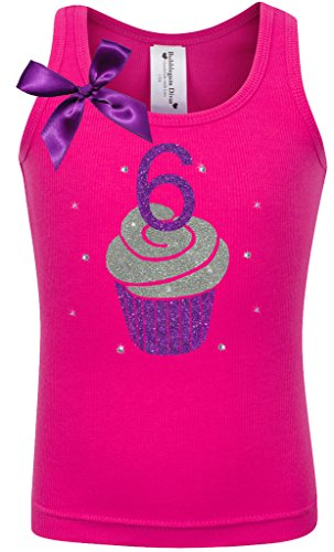 Price comparison product image Bubblegum Divas Little Girls 6th Birthday Cupcake Tank,Hot Pink,Size 6X