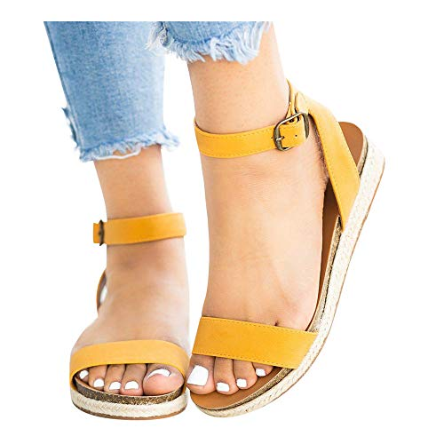 Women's Leopard Print Flats Open Toe Ankle Strap Buckle Sandals Thick-Soled Cork Slippers (Yellow -2, US:7.0)
