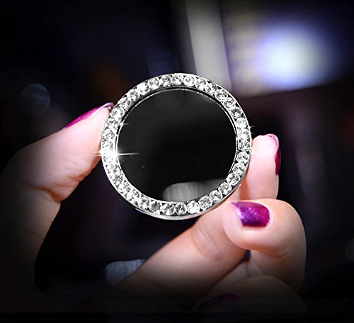 Earthland 2Pcs Crystal Rhinestone Ring for Car Decor, Auto Engine Start Stop Decoration Crystal Interior Ring Decal for Vehicle Ignition Button-Silvery