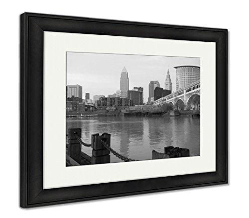 Ashley Framed Prints Cleveland Ohio Downtown City Skyline Cuyahoga River, Wall Art Home Decoration, Black/White, 26x30 (frame size), Black Frame, AG6107449
