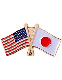 Japan Country Double Flag Lapel Pin with United States USA US Made of Metal Souvenir