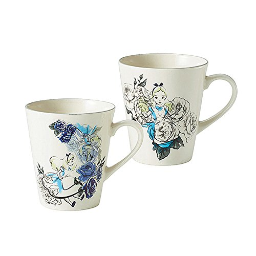Walt Disney Alice in Wonderland Porcelain Pair Mug Maebata 50127(Japan import)