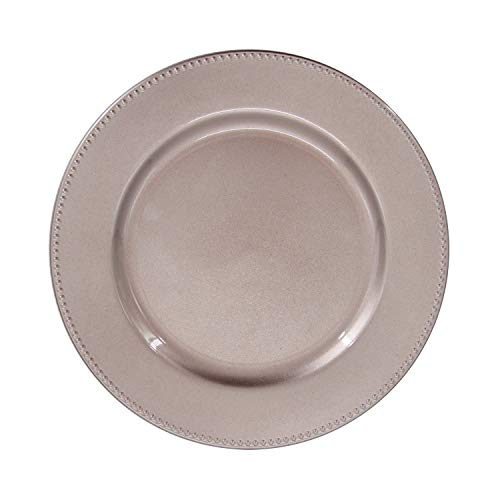 Champagne Plastic Beaded Charger Plates - 12 pcs 13 Inch Round Wedding Party Decroation Charger Plates (Champagne, -