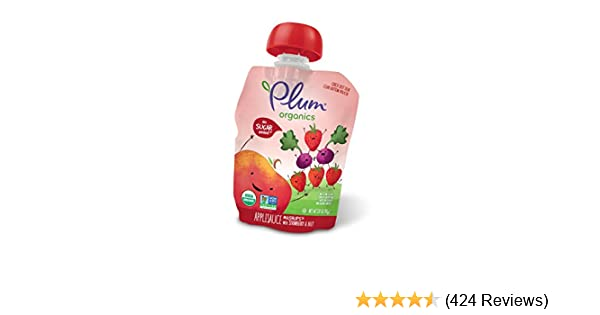Plum Organics Mashups, Organic Kids Applesauce, Strawberry & Beet, 3.17 Ounce Pouch, 4 Count (Pack of 6)