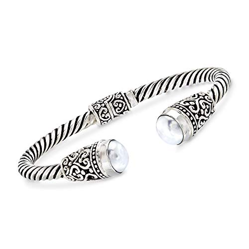- Ross-Simons Balinese 10-10.5mm White Cultured Pearl Cuff Bracelet in Sterling Silver