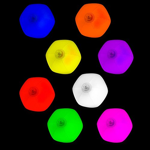 Fun Central (AK054) Glow in the Dark Beach Ball, Beach Ball for Party & Events, Glow in the Dark Ball for Pool Events - Assorted 8pcs by Fun Central