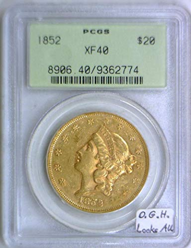 - 1852 P Liberty Head Double Eagle Old Green Holder $20 XF-40 PCGS