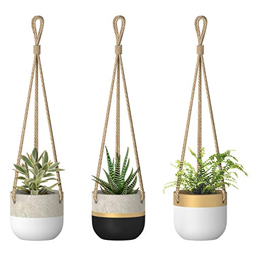 Dahey Cement Hanging Planter 3.3Inch Succulent Flower Plant Pots Hanging Decorative Planter Bowl with Jute Rope Modern Plant Holder Container for Home Office Decor, 3 Pack(Plants Not Included)