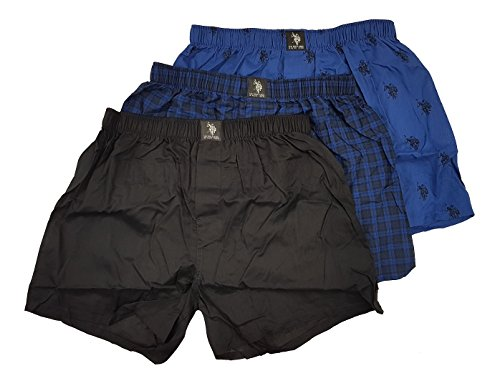 U.S. Polo Assn. Men's 3 Pack Woven Boxers Assorted (Black/Classic Blue Logo/Plaid Blue, ()