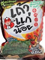 Taokaenoi Fried Seaweed Spicy Bbq 36g.