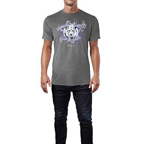 SINUS ART ® Ikonischer Löwe mit Verzierungen Herren T-Shirts in Grau Charocoal Fun Shirt mit tollen Aufdruck