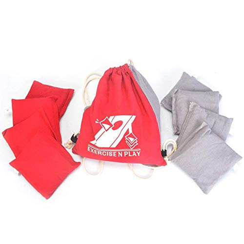 EXERCISE N PLAY Premium Weather Resistant Official Size ACA Regulation Duck Cloth Cornhole Bags(Set of 8) for Cornhole Bean Bags Toss Game,Red & Gray,Includes Shoulder Bag