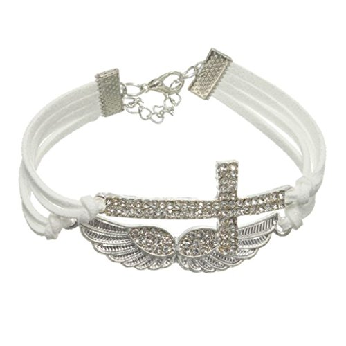 Bracelets White Braided Leather Rope Crystal Cross Angel Wings Bracelet Unisex Jewelry (Negative Space Watch compare prices)