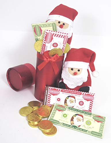 Christmas Russell Stover Candy and Chocolate Bars 2 Large Million Dollar Bars Assorted Gold Coins and Plush Santa Claus