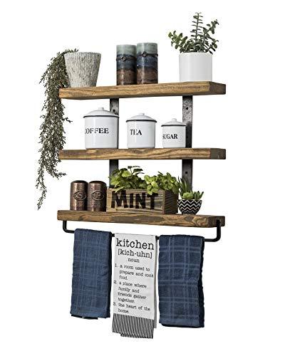 Del Hutson Designs Industrial 3-Tier Floating Shelf with Towel Bar (24 Inch, Walnut)