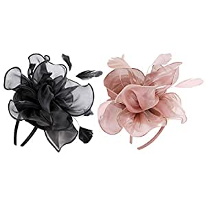 MagiDeal 2pcs Lady Flower Fascinator Hat 1920s Gatsby Bridal Headband Cocktail Party Pink+Black