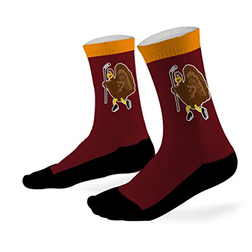 ChalkTalkSPORTS Hockey Printed Mid Calf Socks Hockey Turkey - LARGE - fits Men's Shoe Size 4-... (Turkey Size For 4 Adults)