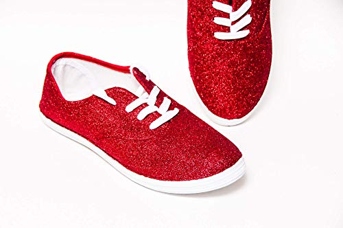 Women's Hand Glittered Canvas Ruby Red Glitter Sparkle Sneaker Shoe by Princess Pumps ()