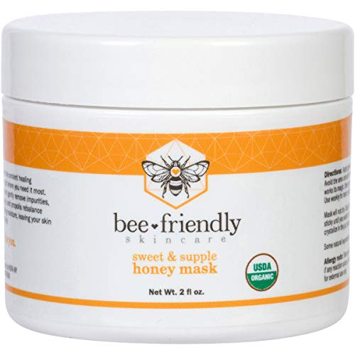 (Facial Mask Certified Organic Raw Honey Mask w/French Pink Clay by BeeFriendly, Exfoliating Mask Leaves Skin Soft, Smooth, Youthful, Pulls Impurities, Enhances Collagen Production, Clears Acne 2 oz)