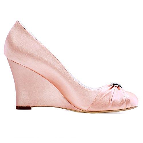ElegantPark EP2005 Mujer Satén Punta Chiusa Arcos Cuña El tacón alto Rhinestones Bombas Zapatos de Novia Rosa