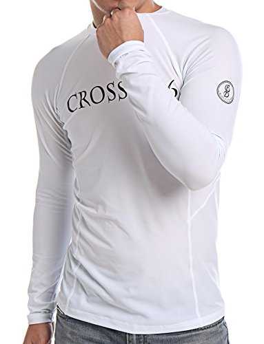 COLO Men Long Sleeve Rash Guard UPF 50+ Lightweight Quick-Dry Surf Swim Shirt High Crew Neck ()