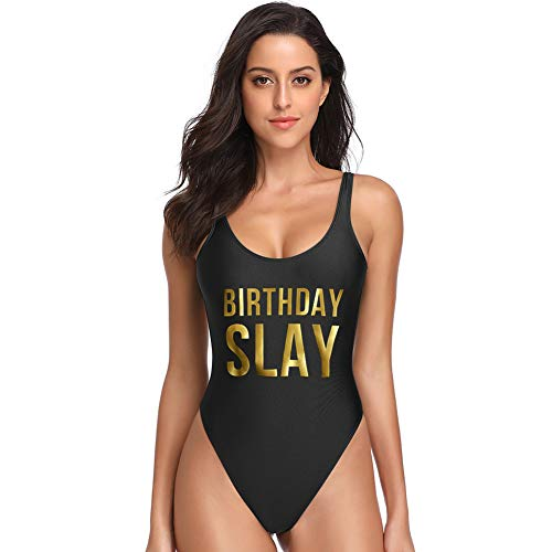 Dixperfect Baywatch-Inspired One Piece Swimsuit with High Cut and Low Back for Women (S, BLK-Birthday Slay)