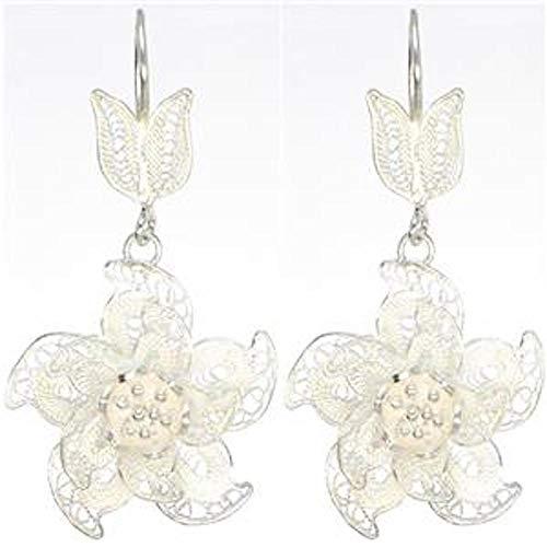 Handmade Sterling Silver .925 Bali Filigree Leaf And Flower Dangle Earrings w Hook