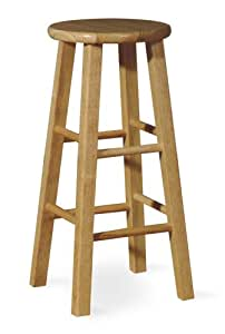 Round-Top Backless Wood Stool in Natural