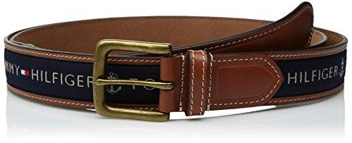 Tommy Hilfiger Men's Big and Tall Ribbon Inlay Belt, Navy, 56 (Designer Belt)