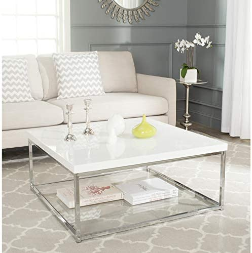 White Chrome Coffee Table, A Synthesis of Retro and Contemporary Styling, This Subtly Glamorous Table is Crafted with White Lacquer-like Finish, Tempered Clear Glass and a Chrome Metal Frame