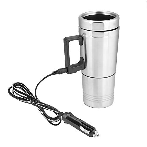 Cuque 12V 300ml + 200ml Portable In-car Heated Travel Mug Universal Car Electric Heating Bottle Coffee Tea 304 Stainless Steel PP Vacuum Water Kettle Thermoses Powered by 12V Cigarette Lighter Plug