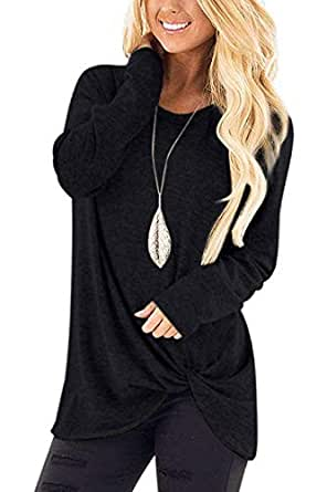 Bloggerlove Women's Summer Tunic Tops Casual Cotton Twist Knotted Shirts Short Sleeve Blouses S-XXL - Black - Small
