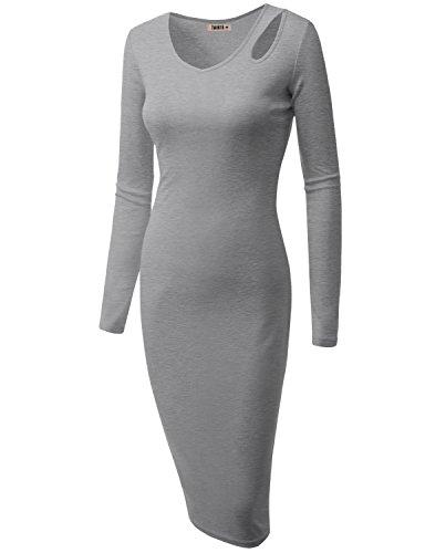 Doublju Womens Zip-Up Lace Printed HEATHERGRAY Dress,XL
