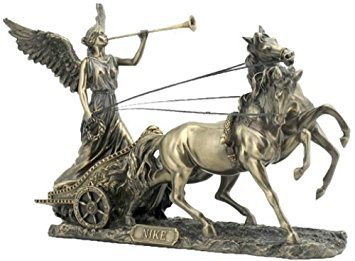 Religious Gifts Greek Goddess Nike with Trumpet on Two Horse Chariot 11 1/4 Inch Cold Cast Bronze Statue