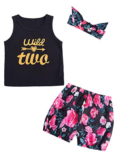 (Baby Girl's Floral Outfit Set Wild Two Vest Summer Clothes with Headband (Black03, 18-24 Months))