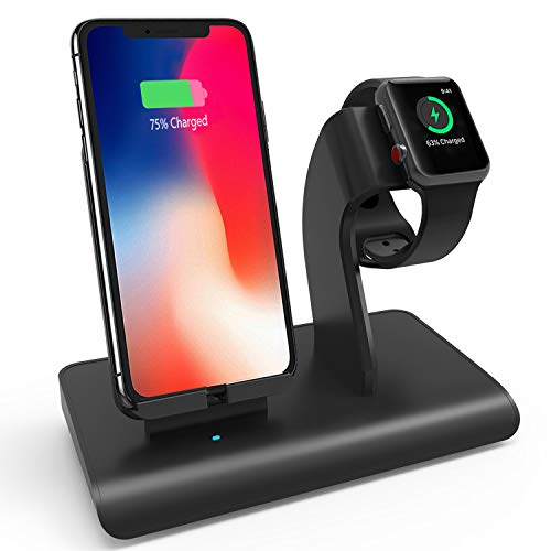 Charging Stand Compatible iPhone Apple Watch, Wireless Charger Dock Station Holder, Support XS/XS Max/XR/X/ 8 Plus & S9 Plus/ Note8, Fit Apple Watch Series 4/3/2/1 (Not Include Apple Watch Cable)