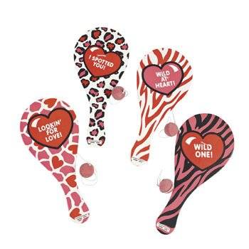 Wild About You Paddleball Games - Valentine's Day & Novelty Toys & Games