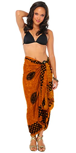 1 World Sarongs Womens Celtic Cover-Up Sarong Interlace Knotwork in Soft Gold