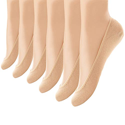 6 Pairs No Show Socks Women No Show Liner Socks Womens No Show Socks Non Slip Thin Low Cut Casual Socks (One Size,Nude)